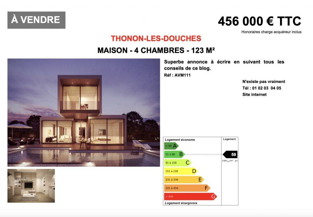 Annonce maison a vendre